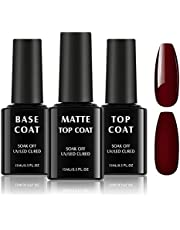 TOMICCA Base Coat Top Coat Gel UV Set 3 * 15ml UV-LED Soak off Base Coat Geen Wipe Top Coat glanzende matte gel nagels schellak voor UV nagellak beschermende gel