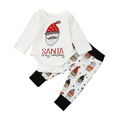 ViWorld Newborn Baby Boy 2Pcs Christmas Clothes Long Sleeve Santa Romper with Long Pants Winter Outfits Set