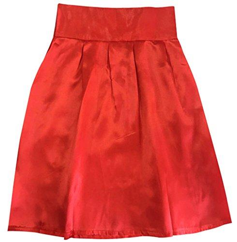 Ajustado Casual Rojo Mujer Honghu Rodilla Verano Fladas Por La xEBFw