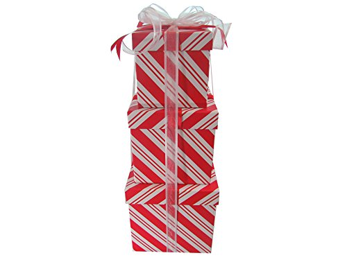(LAC Design Nested Boxes - Set of 3 for Baby Shower, Weddings, and Any Party (Peppermint Stripes))