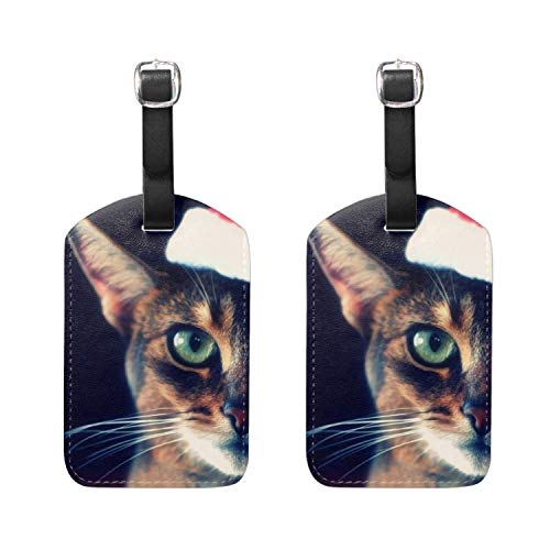 Andrea Back Custom Luggage Tags For Suitcases Travel ID Identification Labels Set For Bags & Baggage - Cat Tabby Face Hat Christmas Red 2 Pieces