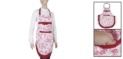 Flower Bowknot Patch Pocket Kitchen Apron for Lady Red White