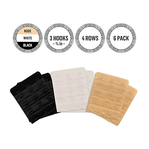 Extender 3 Hook – Soft and Comfortable Bra Band Extension – Adjustable for Plus Size – 6 Pack (2 x Black, 2 x White, 2 x Nude) ()
