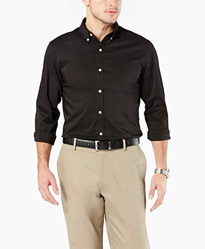 Dockers Men's Long Sleeve Button Front Comfort Flex Shirt, Full Black, 2X-Large (Men Sleeve Dress Shirt Long Black)