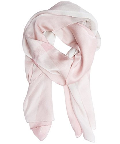 - BURBERRY Core Oblong Mega Check Mulberry Silk Scarf in Pale Rhubarb