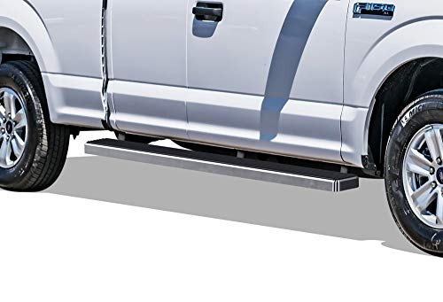 (APS iBoard (304 Stainless Steel Polished Silver 5 inches) Running Boards | Nerf Bars | Side Steps Compatible with 2015-2019 Ford F150 Super Cab Pickup 4-Door / 2017-2019 Ford F-250/F-350 Super Duty)