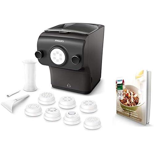 chollos oferta descuentos barato Philips HR2382 15 Máquina para Hacer Pasta Fresca en Menos de 10 Min Tecnología de Peso Automático Capacidad para 600 g 8 Variedades de Pasta Color Negro