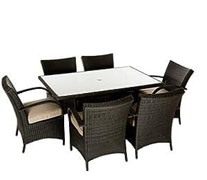 Conjunto de comedor Patio resistente 7piezas Rectangular marrón de ratán muebles de jardín juego de mesa 6sillas asientos.