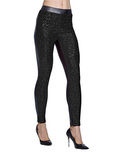 Lotsyle Women's Rose Shiny Sequins Faux Leather Leggings Pants Stretch Long Trousers (XXL, Black) ()