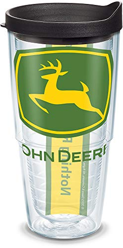 - Tervis 1131105 John Deere Colossal Tumbler with Wrap and Black Lid 24oz, Clear