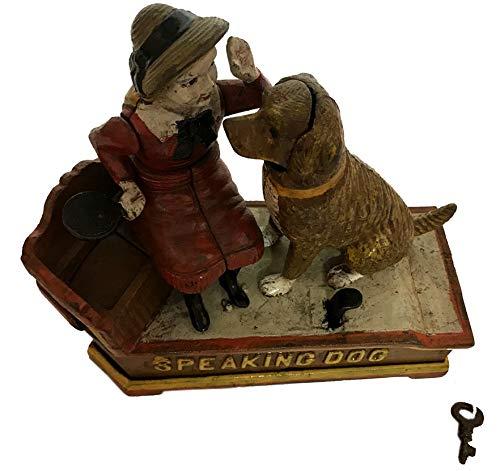 Global Art World J. E. Stevens Company 1897 Re-Creation Heavy Quality Antique Style Cast Iron Mechanical Vintage Speaking Dog Money Box Bank MB 04 by Global Art World (Image #3)