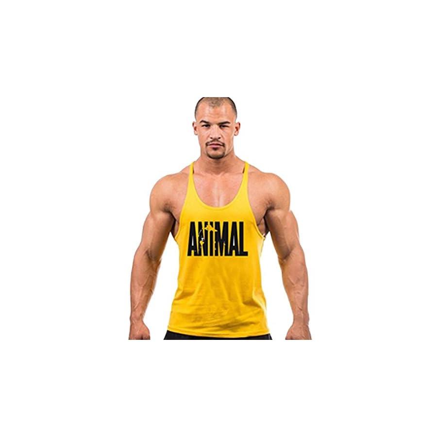 Chen Men's BodyBuilding Tank Top Animal Letter Print Stringer Gym Shirt Workout Fitness Vest