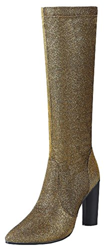 Sequined Knee High Boot (Mofri Women's Sexy Pointed Toe Chunky High Heel Side Zipper Under The Knee High Boots (Gold, 6 B(M) US))