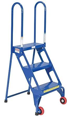 VESTIL flad-3 plegable 3 pasos escalera con ruedas, de acero al carbono, 350 kg capacidad, 30 – 1/4