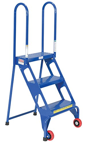 Vestil FLAD-3 Folding 3 Steps Ladder with Wheels, Carbon Steel, 350 lbs Capacity, 30-1/4