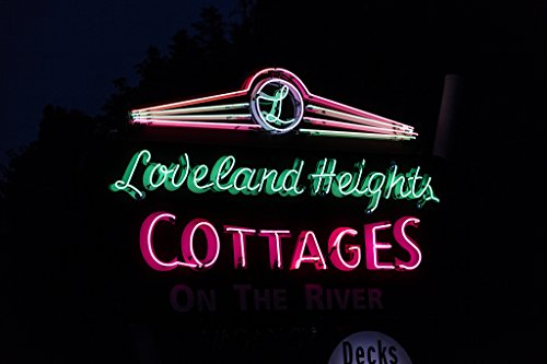 24 x 36 Giclee print of Neon sign for the Loveland Heights Cottages a classic mid-20th-Century cluster of mountain cabins in Estes Park the eastern entrance to Colorado's Rocky Mountain National P Colorado Rockies Neon Sign