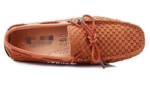 Happyshop Menns Høyde Økende Sko Økte Innenfor 3cm Skjult Hæl Slip-on Loafers Khaki