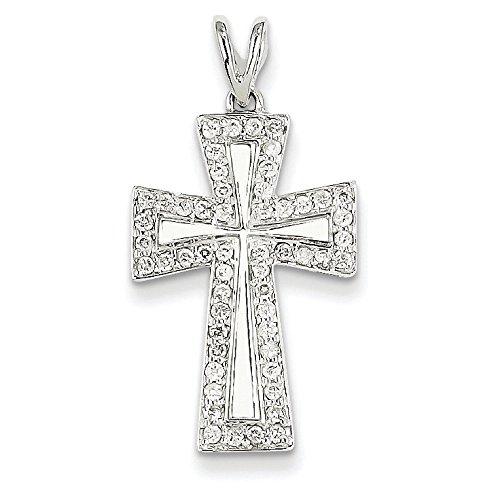 Or blanc 14 carats Diamant Pendentif croix-Dimensions :  22 x 14 mm-JewelryWeb