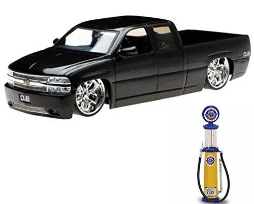 Chevy Diecast Car & Gas Pump Package - Chevy Silverado Pickup Truck, Black - Jada Toys Dub City 63112 - 1/18 scale Diecast Model Toy Car w/Gas Pump