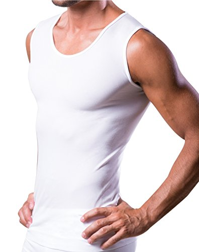 - T-DRY man undershirt invisible and breathable seamless business singlet tank top, White, Large / X-Large
