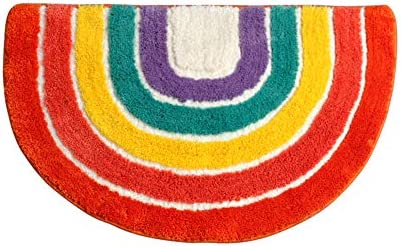 Cute Doormat for Kids – Microfiber Absorbent Bathroom Mats – Front Door Mat Carpet Floor Rug, Rainbow Shape