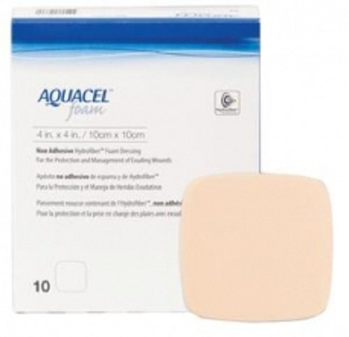 ConvaTec Aquacel Foam Wound Dressing - NonAdhesive - 4 x 4 Inch - Box of 10