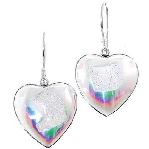 (Heart White Rainbow Titanium Drusy 925 Sterling Silver Earrings, 7/8