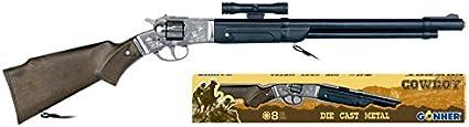 Gonher-Rifle 8 Tiros-Cañon de Plástico, Color Negro, sin Talla (104/0)