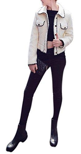 Lingswallow Women Warm Elegant Single Breasted White Cropped Wool Blazer Jackets