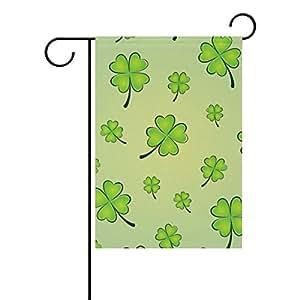 vantaso al aire libre jardín bandera St Patrick Day four Leaf Clovers poliéster impresión a doble cara con prueba de moho para patios Jardín decorativo 12x 18inch