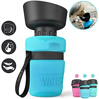lesotc Pet Water Bottle for Dogs, Dog Water Bottle Foldable, Dog Travel Water Bottle, Dog Water Dispenser, Lightweight & Convenient for Travel BPA Free 18 OZ. (Blue)