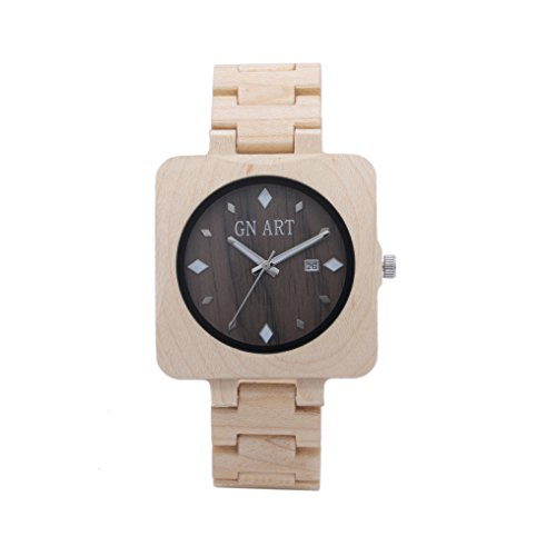 Jenny Shop Mens Casual Handmade Square Wooden Quartz Wrist Watches Date Display Wood Strap Steel Buckle (Maple)
