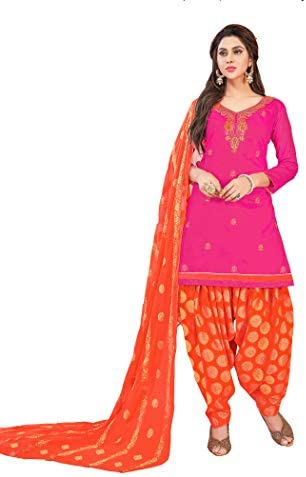Anni Designer Women's Pink Color Glace Cotton Thread Embroidered Banarasi Jacquard Dupatta Punjabi Dress Material(Suhagan 5011_Pink_Free Size)