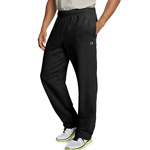 Champion Men`s Powerblend Fleece Open Bottom Pants Black ()