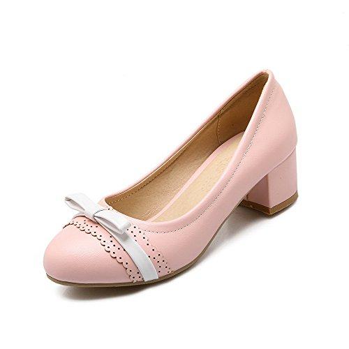 Amoonyfashion Kvinnor Pådrag Låga Klackar Pu Diverse Färg Rund Sluten Tå Pumpar-shoes Rosa