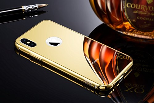 iPhone X Gold Mirror Case with Bumper, Miniko(TM) Luxury Anti-scratch Ultra thin Mirror Metal Aluminum Frame Case [Aluminum Metal Shockproof] [Mirror Back] for iPhone X Gold