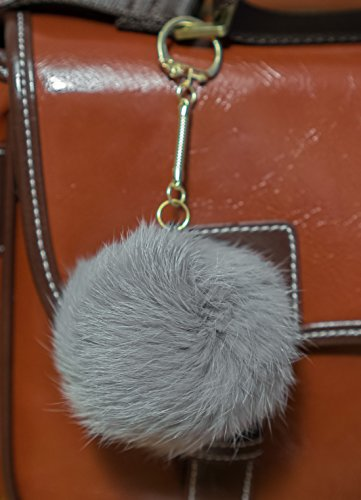 Grey 3 FOR 2! 8cm Gold Metal Clasp Keychain Keyring Pompom Ball Real Fur 8cm Monster Soft Fluffy Charm Dangle