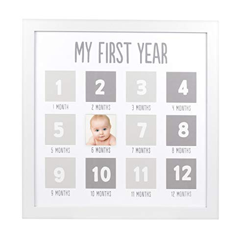 Pearhead Baby First Year Picture Frame, First Year by Month, Baby Shower Gift, Newborn Baby Registry Must Haves, White