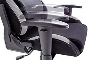 Robas Lund, DX Racer 5 - Silla de escritorio/oficina/ gaming, Negro/Gris, 74 x 52 x 123-132 cm, madera, con ruedas, altura ajustable, tapizada, ...