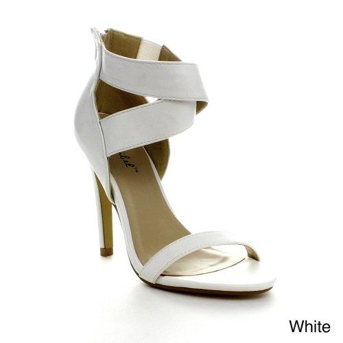 BONNIBEL LUPID-4 Women Criss Cross Ankle Strap Back Zipper Stiletto Dress Sandal, Color:WHITE, Size:6