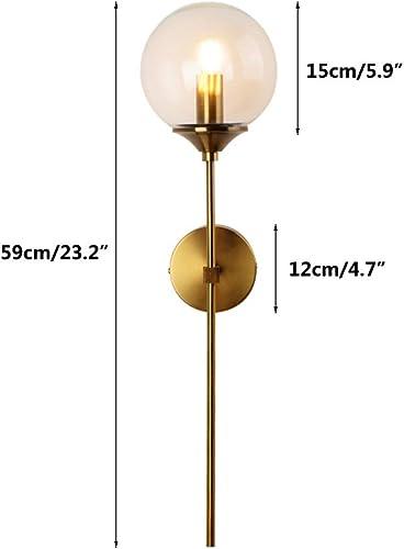KCO Lighting Glass Globe Wall Sconce Mid-Century Modern Wall Mount Light Gold Wall Light Fixtures