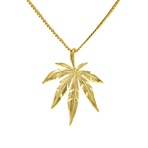 Cuban Link Chain 14K Gold Silver Plated CZ CRYSTAL Fully Iced-Out Bling Bling Marijuana leaf Necklace (Gold) (Gold Marijuana Leaf)