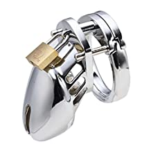 "Gaogoo Stainless Steel Male Locking Short Design Chastity Adult Sex Toys Penis Male Defend Chastity with Lock 3size Rings(2""+1.75""+1.5"")"