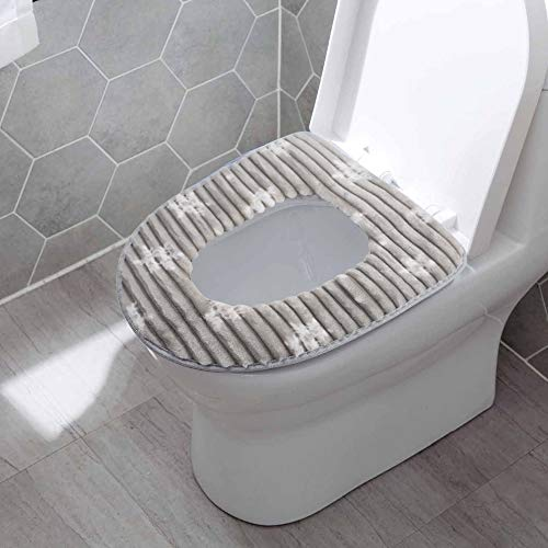BigOtters Toilet Seat Cover Pads, Washable Toilet Seat Cushion Mat Winter Washable Toilet Seat Warmer (Gray)