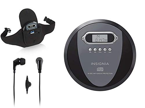 Insignia NS-P4112 Portable CD Player with Skip Protection - Black with Savanizer CD Player Holder Case with Belt and Earphones