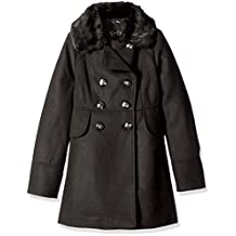 Jessica Simpson girls Big Girls Double Breasted Church Coat With Faux Fur Collar