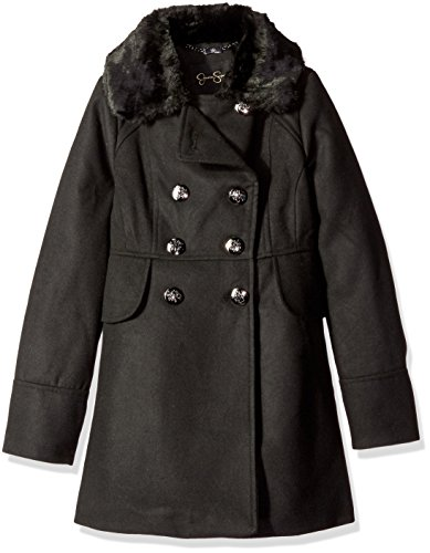 Jessica Simpson Big Girls' Double Breasted Church Coat with Faux Fur Collar, Black, 8