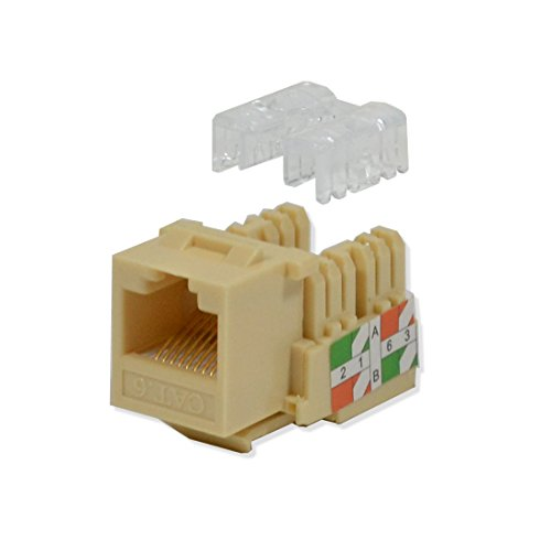 (LOGICO 25 Pack lot Keystone Jack Cat6 Ivory Network Ethernet 110 Punchdown 8P8C)