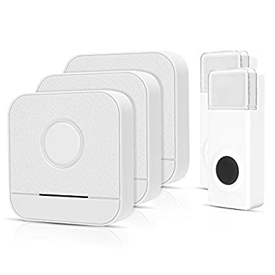 Wireless Doorbell 2 Receivers And 1Push Buttons, IP55 Waterproof Chime Kit, 600 Feet Operating, LED Indicator, 4 Level Volume,52 Chimes Options,No Batteries Required for Receivers