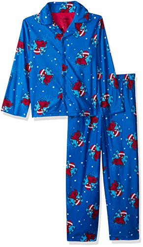 Coat Pj Set (Marvel Boys' Little Spiderman Holiday 2-Piece Pajama Coat Set, Festive Spidey, 6)